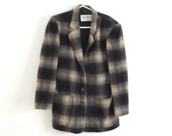 Vintage plaid jacket Plaid suit coat Hugo Buscati jacket Plaid wool blazer Fitted suit jacket Women's Size XS plaid suit coat Black plaid