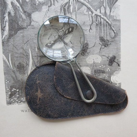 Vintage magnifying glass Botanical magnifying glass Antique magnifying Travel magnifying glass Scientific magnifier Original case and glass