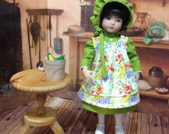 "LIttle Darling""Prairie Dress""  dress, apron, and bonnet for 13 inch Dianna Effner dolls or similiar 13 dolls"