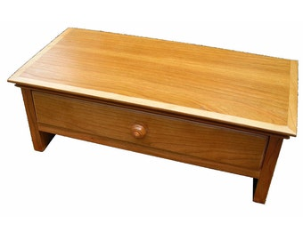 Small Natural Cherry Wood Computer Monitor Stand and Desk  Organizer with Drawer