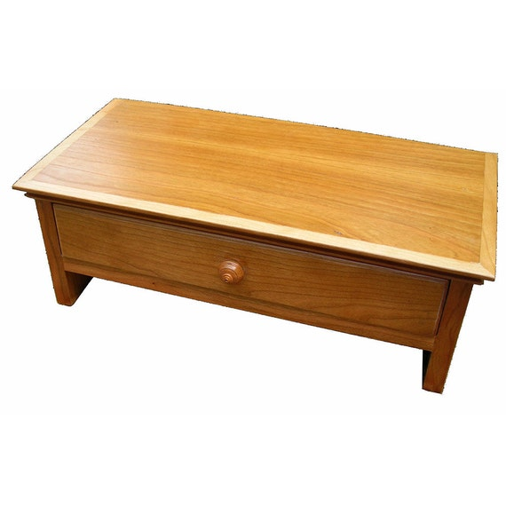 Medium Size Natural Cherry Wood Computer Monitor Stand and Desk  Organizer with Drawer