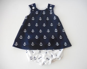 Nautical navy blue with white anchors baby infant sundress pinafore and diaper cover bloomers