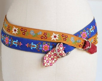 Winter Sale Harvest Gold Floral Ribbon Belt made with vintage cotton woven ribbon