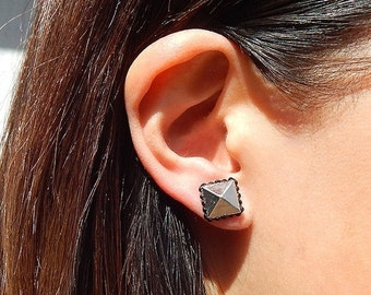 50% OFF SALE The Silver Pyramid Stud Earrings