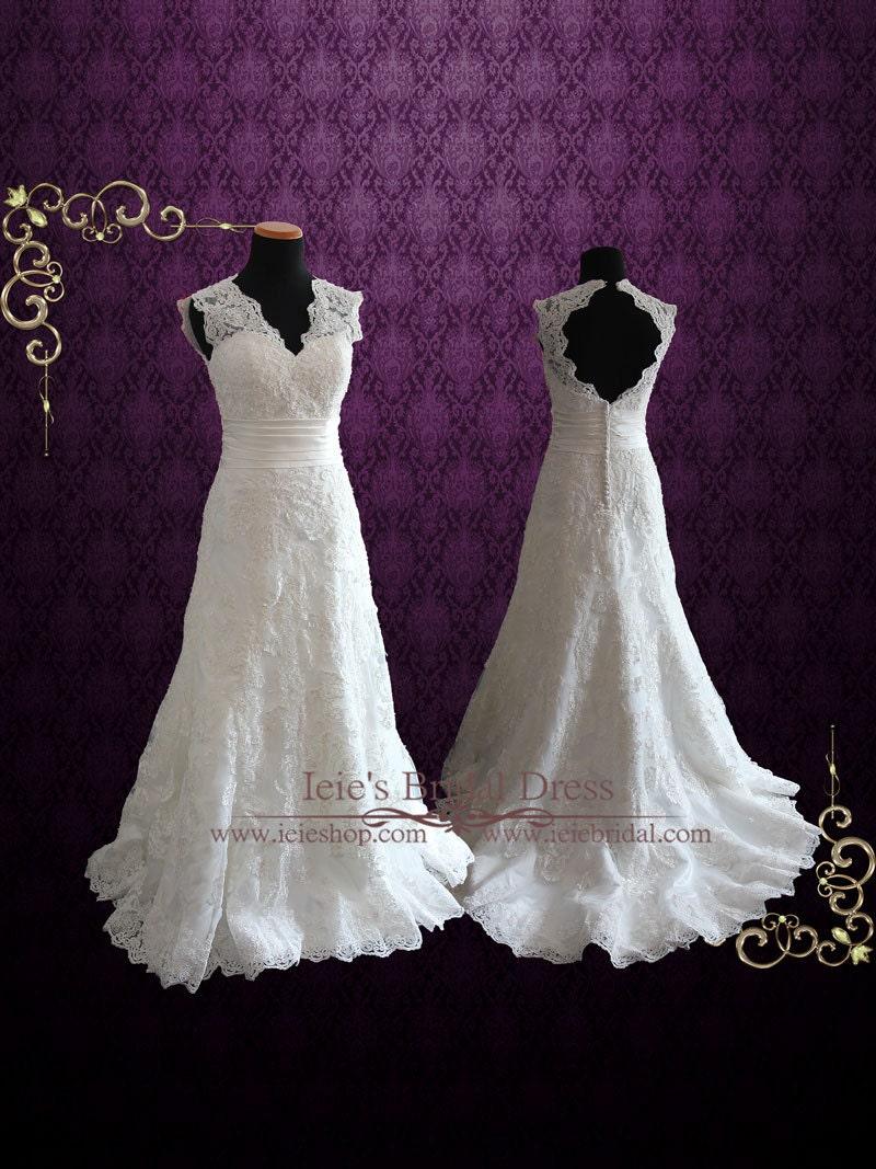 Lace Wedding Dress With V Neck And Keyhole Back Vintage