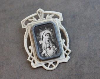 Antique Sacred Heart of Mary Miniature Icon / Catholic Pocket Shrine