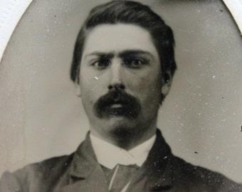 Handsome Victorian Framed Tintype Portrait / Potter's 1865 / Civil War Photography