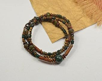 Boho Wrap... Hunter Green, Butterscotch, Beaded Necklace, Wrap Bracelet Fall Collection cbwsn122