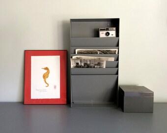 Vintage Industrial Mid Century Metal Hanging File Organizer Shelf