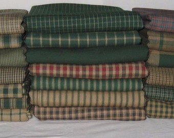 Dunroven House 20 Primitive Hunter Green Homespun Fabric Fat Quarter Bundle