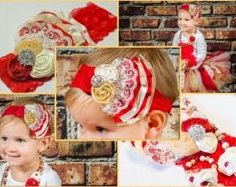 Girls Fabric Flower Rosettes Headband, Red, Cream Satin, Lace Newborn Infant, photo prop, baby shower gift,  Gemstone, Flower Girl