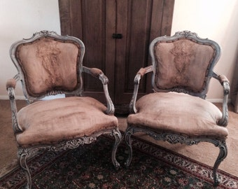 Pair French Berge Antique Chairs