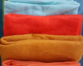 Merino 19 micron Prefelts 5 Colours for nuno felting, felting, upwolfing, needle felting