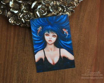 Koi - Home printed ACEO on luster paper 2.5 in x 3.5 in - Miniature art woman with koi fish surreal pop art manga style fantasy blue hair