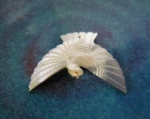 Vintage Mother of Pearl Carved Dove Pendant
