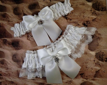 Medical Nursing RN Caduceus Charms All White Lace Satin Wedding Garter Toss Set