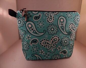 Aqua Aquamarine Blue Bandana Print Makeup Bag Cosmetic Travel Bag Organizer Bag Cute