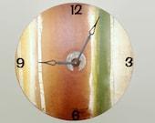 SILENT Rustic Wall Clock, Unique Wall Clock, Large Wall Clock / Brown Green Birch Clock / Record Clock / Rustic Home Decor / Wall Decor 2018