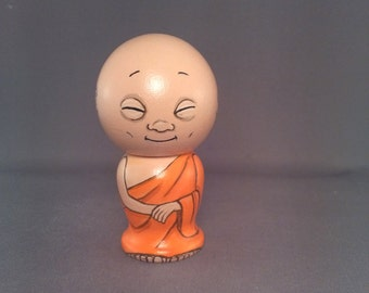 Little Buddha Handpainted Wooden Kokeshi Doll
