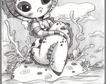 Day #256- No Fish Is An Island-cute and creepy mermaid lady- original sketch a day drawing! 5.5 x 8.5