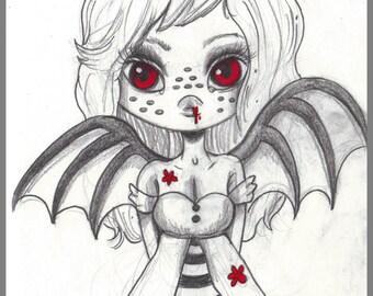 Day #276- Vampire Eyes - kawaii bloody vampire girl original sketch a day drawing! 5.5 x 8.5