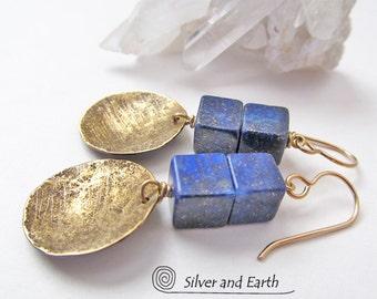 Lapis Earrings, Hammered Brass Earrings, Small Gold Earrings, Lapis Lazuli Jewelry, Handmade Artisan Jewelry, Blue Earrings, Modern Jewelry