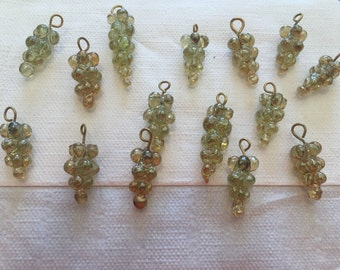 Vintage Czech Poured Yellow Luster Grape Cluster Drops Glass Trade Bead Lot