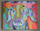 Custom Pet Portrait - colorful contemporary art painting of your animal
