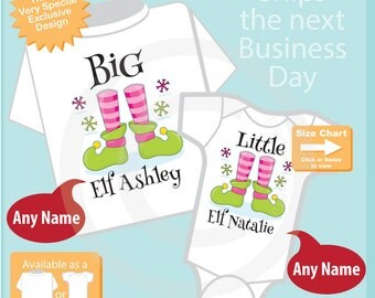 Set of Two - Big Sister Little Sister Sibling Matching Set - Christmas Elf Announcement - Price is for Both 12122015a