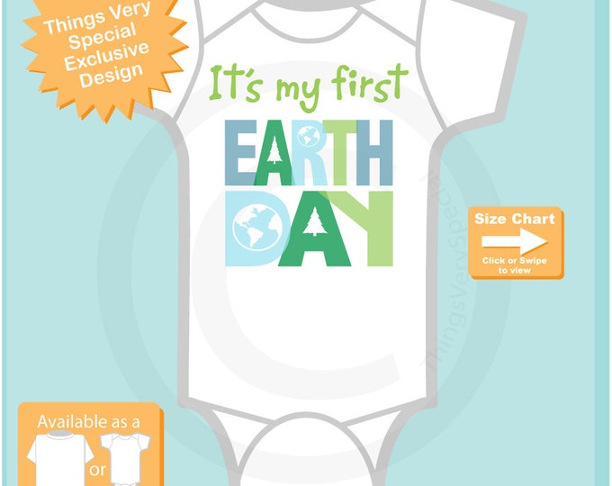 First Earth Day Outfit, Personalized 1st Earth Day Shirt or Onesie, Shirt for Toddlers and Kids (03142010a)