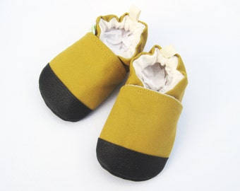 Organic Vegan Heavy Canvas Honey / non-slip soft sole baby shoes / made to order / Babies Toddler Preschool