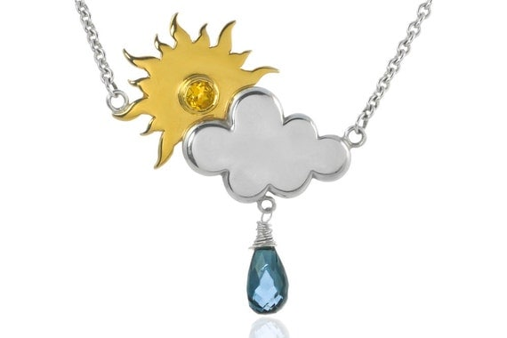 Silver and Gold Rain or Shine Necklace | Silver Cloud Neckace | Weather Jewellery | Ethical Silver Jewellery