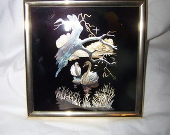 Vintage 1985 Swan Family Foil Print #1067 Kafka Industries LTD. Contemporary Home Decor Wall Art Office Unique Gift COUPON