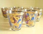 Georges Briard lowball glasses, 8 on-the-rocks, Apple & Pear, blue and purple, 24 kt gold, mid-century designer barware, housewarming gift