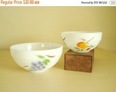 """Mixing bowls, Gay Fad """"Fruits"""" milk glass, Fire King Oven Ware bowls, 6"""" and 7.5"""" white overproof bowls, hand painted grapes peaches & pears"""