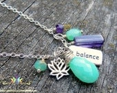 Custom order for Amy, gemstone and charm necklace