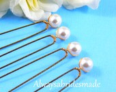 Bridal Hairpins,Bridal Hair Clips,  Swarovski White Pearls - SET OF 4 - For Brides, Bridesmaids or Flower girls