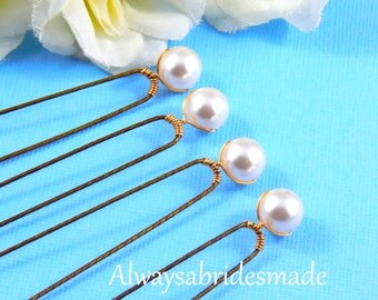 Bridal Hairpins,Bridal Hair Clips,  Swarovski White Pearls - SET OF 4 - For Brides, Bridesmaids or Flower girls