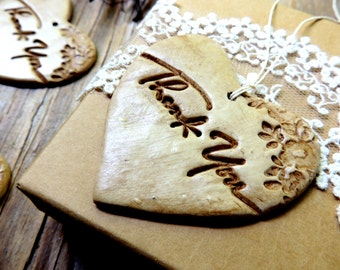 Personalized Thank You Tags Wedding Favor Gift Tags Bridal Shower Custom Vintage Rustic Floral Heart Weddings Clay Tea Stained Party Event