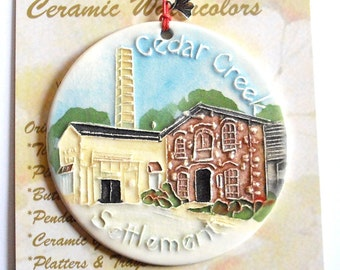 Cedar Creek Settlement textured ornament with free gift wrap