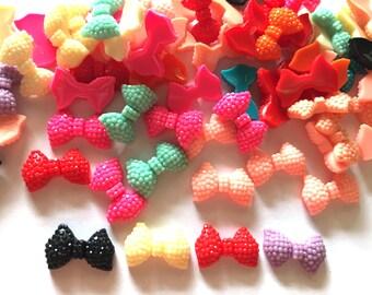 30 pcs Cute Glitter Ribbon Cabochon Flatback Decoration Size 11 X 18 mm