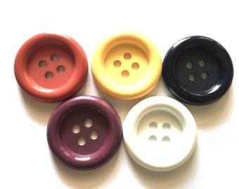 20 pcs - Big buttons - 4 hole - size 33 mm Mix earth tone