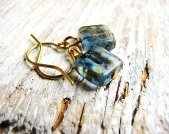 Blue Czech Glass Earrings, Square Bead Earrings, Blue Earrings, Minimalist, Geometric, Earthy, Simple Design