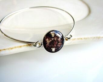 Purple Resin and Gold Flake Bracelet, Resin Jewelry, Bangle Bracelet, Bracelet Stack, Stacking Bracelet, Modern Jewelry, Minimalist