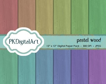 Digital Paper Pack Pastel Wood, Perfect for Scrapbooking, Digital Art, Favor Boxes and Crafting Projects