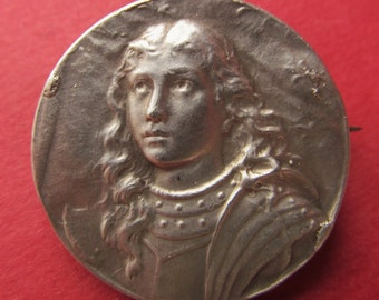 Antique French Silver Joan of Arc Pin Brooch Long Flowing Hair   SS136