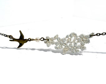 Lace and bird swallow necklace in cream and bronze