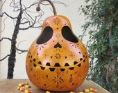 Halloween Gourd Large Sugar Skull Jack O Lantern Primitive Pumpkin Decoration