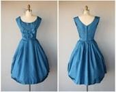 Vintage 50s Dress | 1950s Dress | Blue 1950s Formal Dress | Blue Silk Taffeta Party Dress | 50s Party Dress