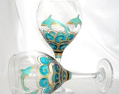 Dolphin Goblet Hand Painted Glassware Turquoise Oceans Collection ~ 1